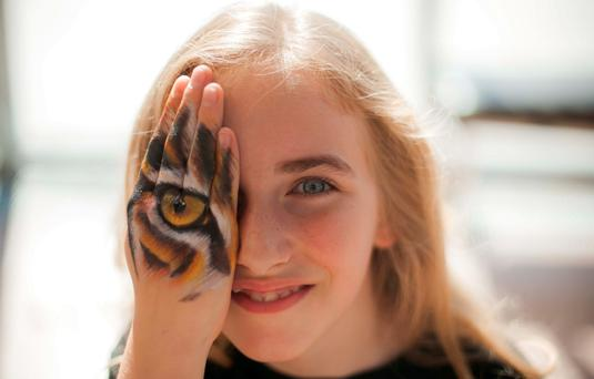 Lisa Murray (10), from Ringsend, at the launch of Sightsavers annual Junior Painter Awards competition Photo: Gareth Chaney