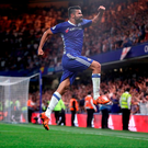 Chelsea's Diego Costa celebrates scoring his side's second goal of the game during the Premier League match at Stamford Bridge, London. PRESS ASSOCIATION Photo. Picture