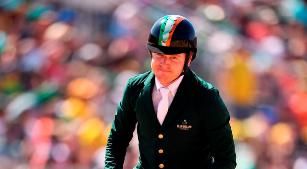 'Greg Broderick has a mountain to climb with Going Global if he is to make the cut into Friday's individual showjumping finale'. Photo by Brendan Moran/Sportsfile