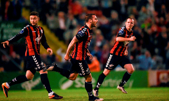 Kurtis Byrne of Bohemians celebrates scoring his side's second goal. Photo: David Fitzgerald/Sportsfile