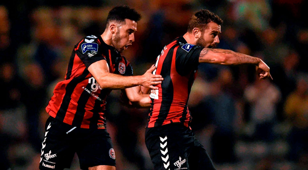 Kurtis Byrne of Bohemians celebrates with team-mate Eoin Wearan, left, after scoring his side's second goal. Photo: David Fitzgerald/Sportsfile