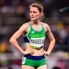 Ciara Mageean of Ireland shows her disappointment after being eliminated in the 1500M semi final. Photo by Brendan Moran/Sportsfile