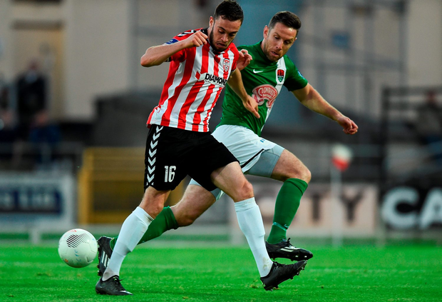 Nathan Boyle of Derry City in action against Alan Bennett of Cork City. Photo: David Maher/Sportsfile