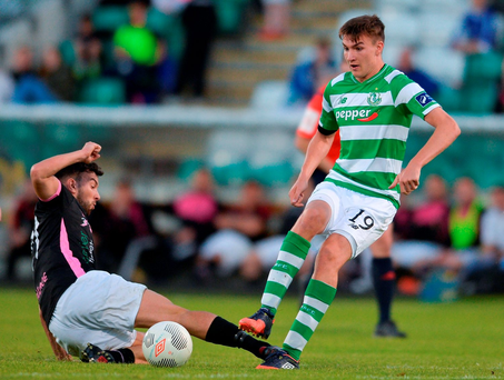 Sean Boyd of Shamrock Rovers in action against Shane Dunne of Wexford Youths. Photo: Eóin Noonan/Sportsfile