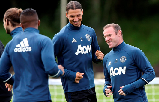 To accommodate Paul Pogba, Jose Mourinho may have to choose between Wayne Rooney (R) and Zlatan Ibrahimovic. Photo: Getty