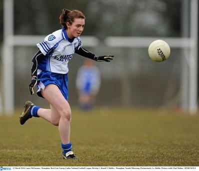 13 March 2010; Laura McEneaney, Monaghan. Bord Gais Energy Ladies National Football League, Division 1, Round 5, Dublin v Monaghan, Naomh Mhearnog, Portmarnock, Co. Dublin. Picture credit: Paul Mohan / SPORTSFILE
