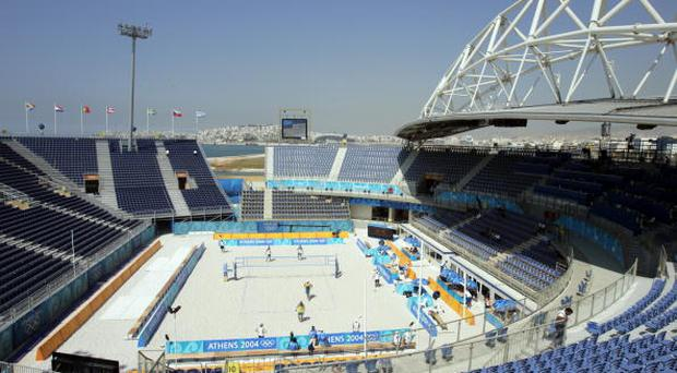 GREECE - AUGUST 12: Beach Volleyball: 2004 Summer Olympics, Scenic view of miscellaneous action at Faliro, stadium, Athens, GRC 8/12/2004 (Photo by John Biever/Sports Illustrated/Getty Images) (SetNumber: X71378 TK1)