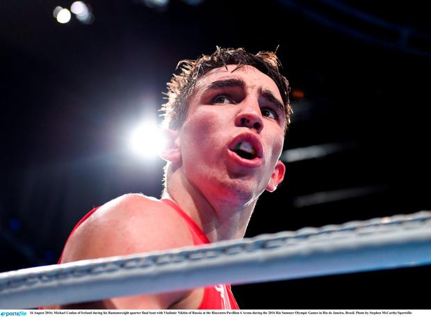 16 August 2016; Michael Conlan of Ireland during his Bantamweight quarter final bout with Vladimir Nikitin of Russia. Photo by Stephen McCarthy/Sportsfile