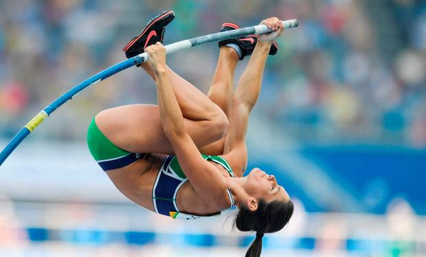 Tori Pena of Ireland competing in the Women's Pole Vault Qualifying Round at the Olympic Stadium during the 2016 Rio Summer Olympic Games in Rio de Janeiro, Brazil. Photo by Ramsey Cardy/Sportsfile