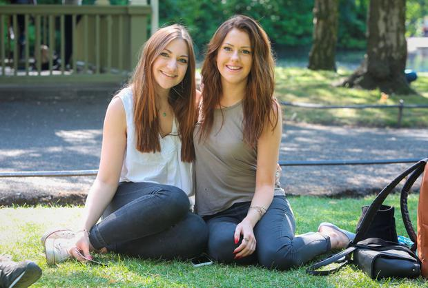 Eleanor Howley and Charlotte Auty, from Leeds, also in St Stephen's Green. Photo: Gareth Chaney Collins