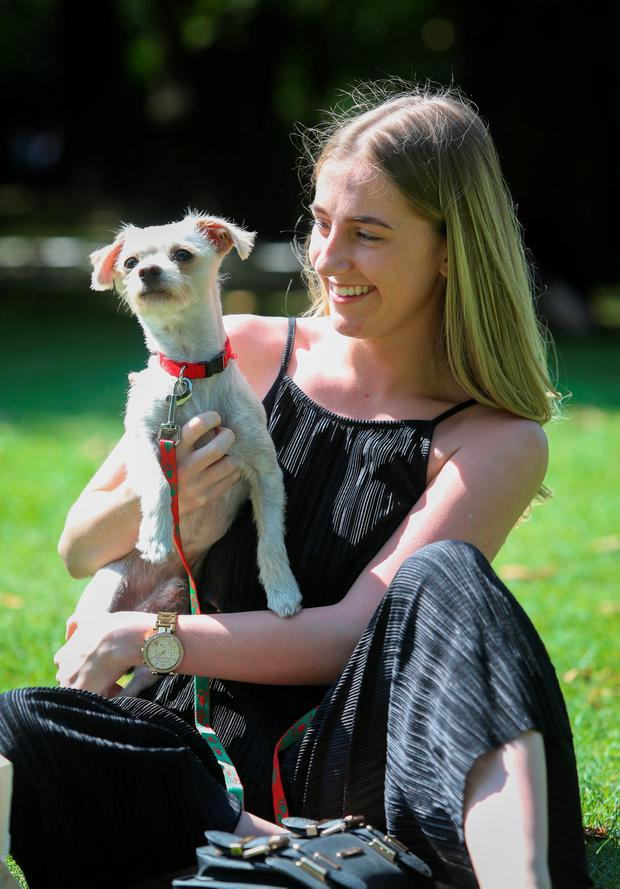 Megan Dunne and Kobi the dog enjoy the good weather in St Stephens Green, Dublin. Photo: Gareth Chaney Collins
