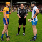 Brian Gavin tosses the coin ahead of this year's National Hurling League final between Clare and Waterford – the Offaly referee is likely to be given charge of the All-Ireland final. Photo: Piaras Ó Mídheach/Sportsfile
