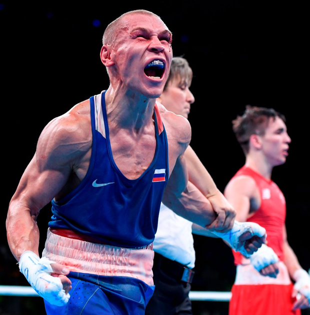 The Russian boxer celebrates. Photo: Stephen McCarthy/Sportsfile