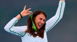 16 August 2016; Annalise Murphy of Ireland celebrates with her silver medal after the Women's Laser Radial Medal race on the Pão de Açúcar course, Copacabana, during the 2016 Rio Summer Olympic Games in Rio de Janeiro, Brazil. Photo by Ramsey Cardy/Sportsfile