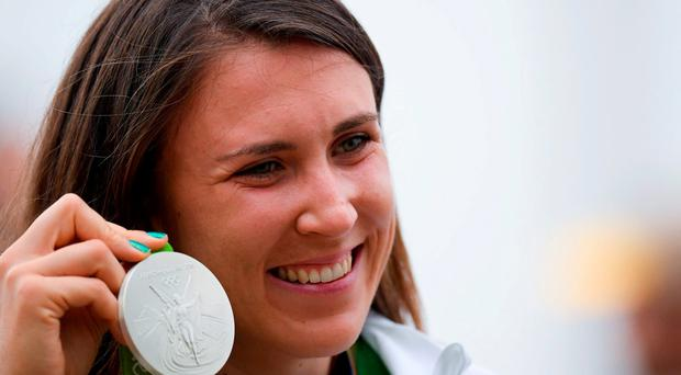 Annalise Murphy of Ireland celebrates with her silver medal after the Women's Laser Radial Medal race on the Pão de Açúcar course, Copacabana, during the 2016 Rio Summer Olympic Games in Rio de Janeiro, Brazil. Photo by Ramsey Cardy/Sportsfile