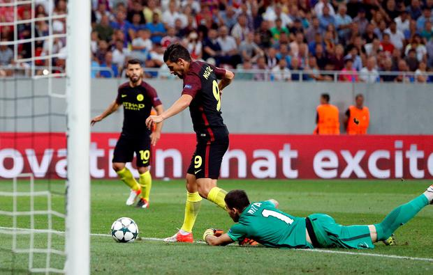 Manchester City's Nolito scores their third goal. Photo: John Sibley/Action Images via Reuters