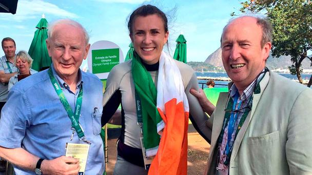 Irish sailor Annalise Murphy with OCI president Pat Hickey and Sports Minister Shane Ross after her silver medal win