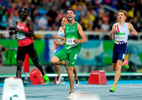 Thomas Barr celebrates winning the Men's 400m Semi-Final at the Olympic Stadium. Photo by Ramsey Cardy/Sportsfile