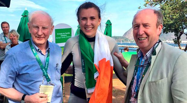 Sports Minister Shane Ross (right) with Olympic silver medalist Annalise Murphy and Pat Hickey of the Olympic Council of Ireland yesterday