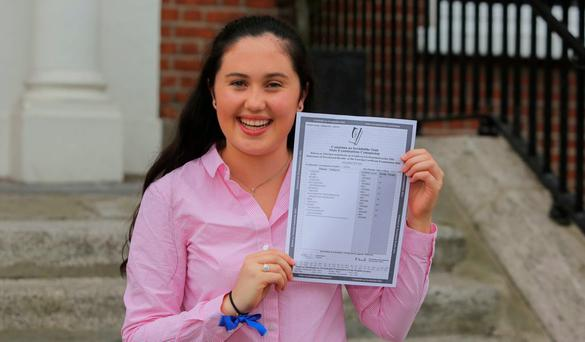Loreto on the Green Student Niamh Ryan from Castleknock celebrates after getting 8 A1's in her Laving Cert outside Loreto on the Green