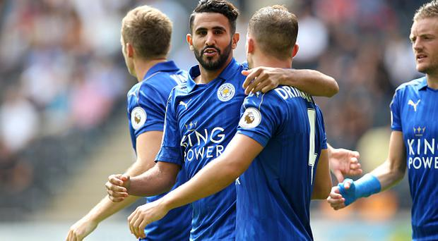 HULL, ENGLAND - AUGUST 13: Riyad Mahrez of Leicester City celebrates after scoring to make it 1-1 during the Premier League match between Leicester City and Hull City at KC Stadium on August 13, 2016 in Hull, United Kingdom. (Photo by Plumb Images/Leicester City FC via Getty Images)