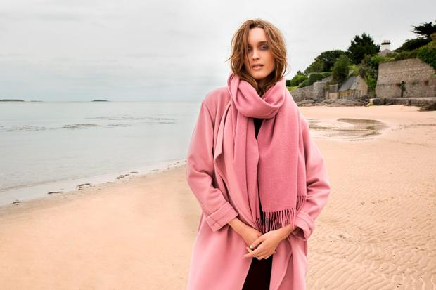 Draped pink coat, €189; matching wool scarf, €49, Carolyn Donnelly, The Edit, Dunnes Stores