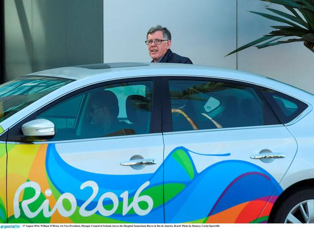 William O'Brien, 1st Vice-President, Olympic Council of Ireland, leaves the Hospital Samaritano Barra in Rio de Janeiro, Brazil. Photo by Ramsey Cardy/Sportsfile