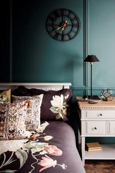 Frances floral cotton bed linen from €54; butterfly cushion, €40; botanical print cushions, €27 each; Eva lamp, €135, all from Marks & Spencer, marksandspencer.ie