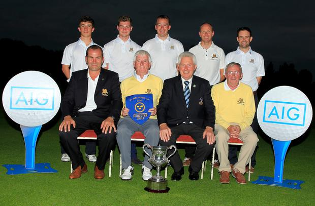 Monkstown receive the pennant for winning the Munster Golf AIG Senior Cup after an exciting 3-2 victory over Castletroy in the decider in Cork. Photo: Golffile/Thos Caffrey