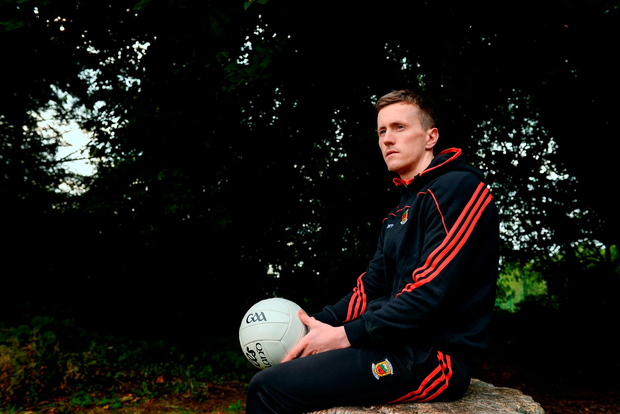 Cillian O'Connor at Mayo's press conference ahead of Sunday's clash with Tipperary. Pic: Sportsfile