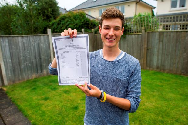 Andrew Cleary with his exceptional leaving cert results Photo: Douglas O'Connor