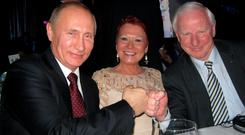 Pat Hickey and his wife Sylviane with Russian President Vladimir Putin in Moscow in 2014