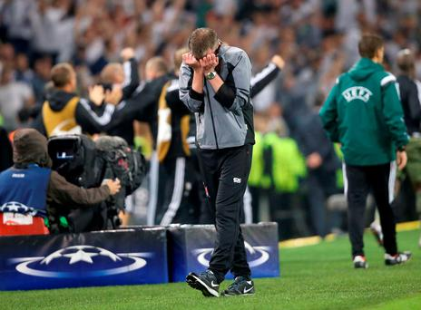Dundalk manager Stephen Kenny is dejected after the final whistle. Photo: Niall Carson/PA Wire