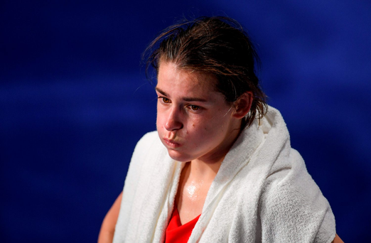 Katie Taylor after her defeat in Rio. Photo: Ramsey Cardy/Sportsfile