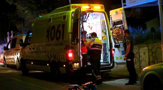 Emergency services attend to an Irish man who was shot dead outside a bar on a busy street on the holiday island of Majorca. Picture: Solarpix