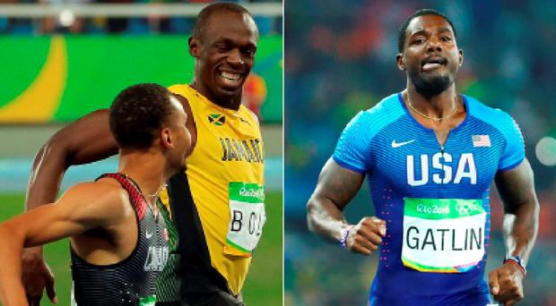 Bolt and Andre De Grasse share a laugh crossing the line and (right) gatlin crashed out