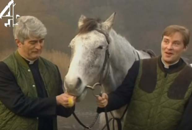 Dermot Morgan as Fr Ted and Ardal O'Hanlon as Fr Dougal in the famous 'My Lovely Horse' video. Photo: Channel 4