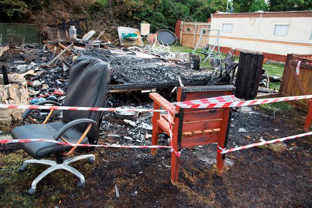 The Scene of the fire at The Caravan Park, At New Road, Donabate this morning. Credit: Colin O'Riordan