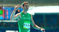 Thomas Barr of Ireland reacts after finishing in 4th place with a new Irish record of 47.97 during the Men's 400m hurdles final in the Olympic Stadium, Maracanã, during the 2016 Rio Summer Olympic Games in Rio de Janeiro, Brazil. Photo by Brendan Moran/Sportsfile
