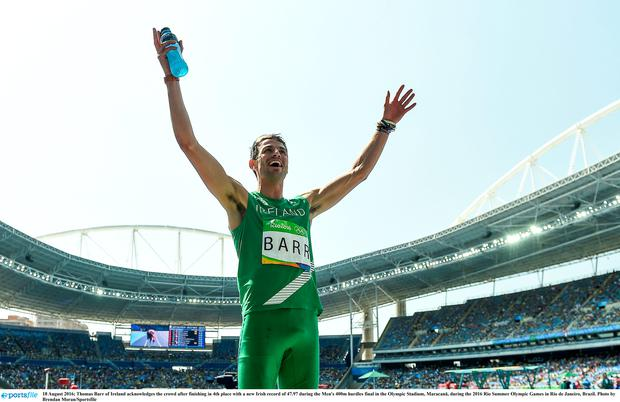 Thomas Barr of Ireland acknowledges the crowd after finishing in 4th place with a new Irish record of 47.97 during the Men's 400m hurdles final in the Olympic Stadium, Maracanã, during the 2016 Rio Summer Olympic Games in Rio de Janeiro, Brazil. Photo by Brendan Moran/Sportsfile