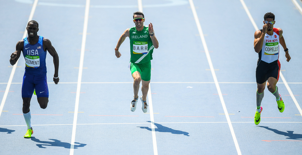 Thomas Barr, centre, of Ireland in action against Kerron Clement of USA, left, and Yasmani Copello of Turkey during the Men's 400m hurdles final where he finished in 4th place with a new Irish record of 47.97 in the Olympic Stadium, Maracanã, during the 2016 Rio Summer Olympic Games in Rio de Janeiro, Brazil. Photo by Ramsey Cardy/Sportsfile