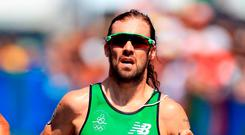Ireland's Bryan Keane runs during the Men's Triathlon at Fort Copacabana on the thirteenth day of the Rio Olympic Games, Brazil. Mike Egerton/PA Wire