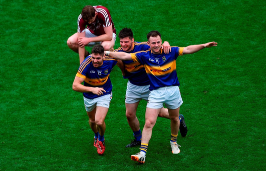 Tipperary players celebrate their victory over Galway Photo by Daire Brennan/Sportsfile