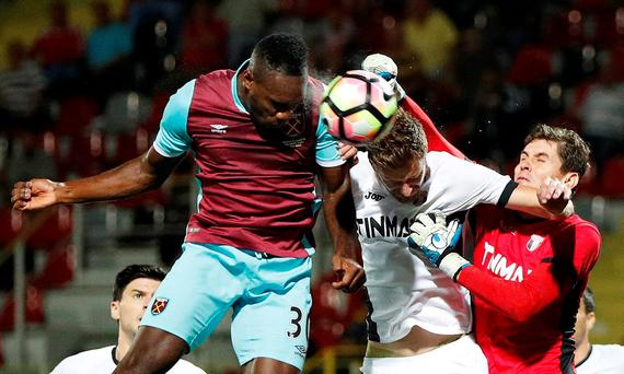 FC Astra Giurgiu's Silviu Lung and Florin Lovin in action with West Ham United's Michail Antonio Action Images via Reuters / John Sibley