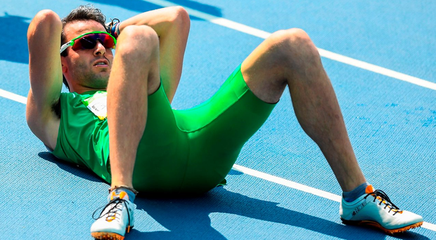 Thomas Barr of Ireland after the Men's 400m hurdles final after he finished in 4th place with a new Irish record of 47.97. Photo: Sportsfile