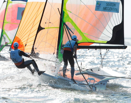 Ryan Seaton and Matt McGovern of Ireland in action during the second day of racing in the Men's 49er class on the Aeroporto course. Photo: Sportsfile