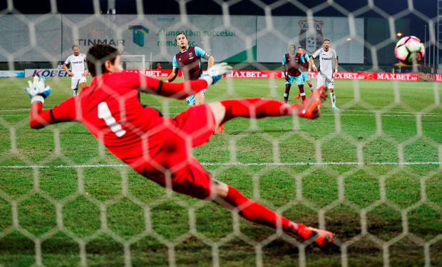 West Ham's Mark Noble scores a penalty during last night's 1-1 draw against Astra in the Europa League. Photo: John Sibley
