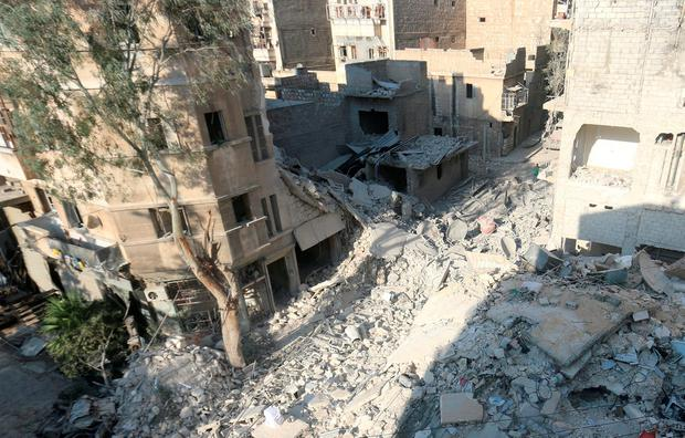 A general view shows the site of yesterday's airstrike where five-year-old Omran Daqneesh got injured in the rebel-held al-Qaterji neighbourhood of Aleppo, Syria. Photo: Reuters
