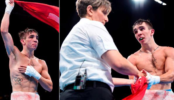 Michael Conlan with referee Kheira Sidi Yakoub