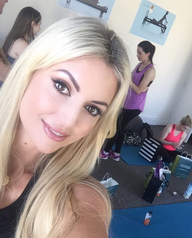 Rosanna Davison snaps a selfie in class. Photo: Instagram